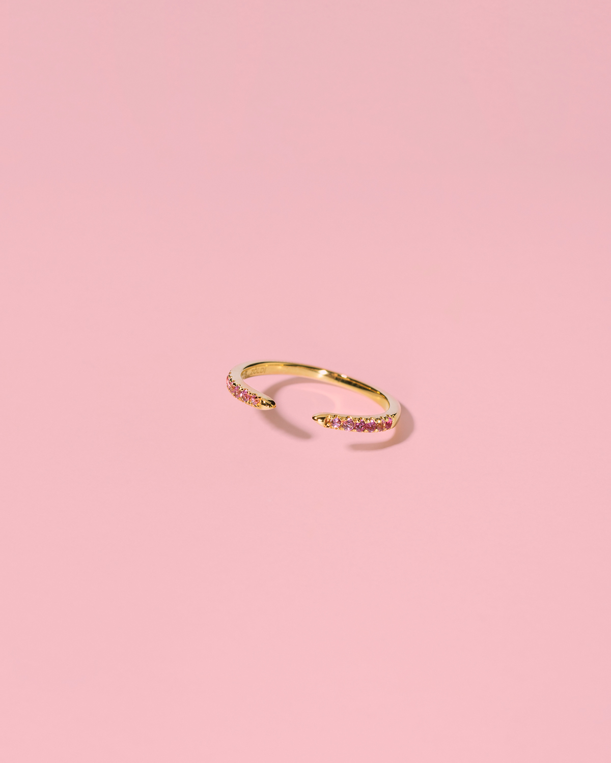 Ice-cool baby <br>gold-plated band pink stones