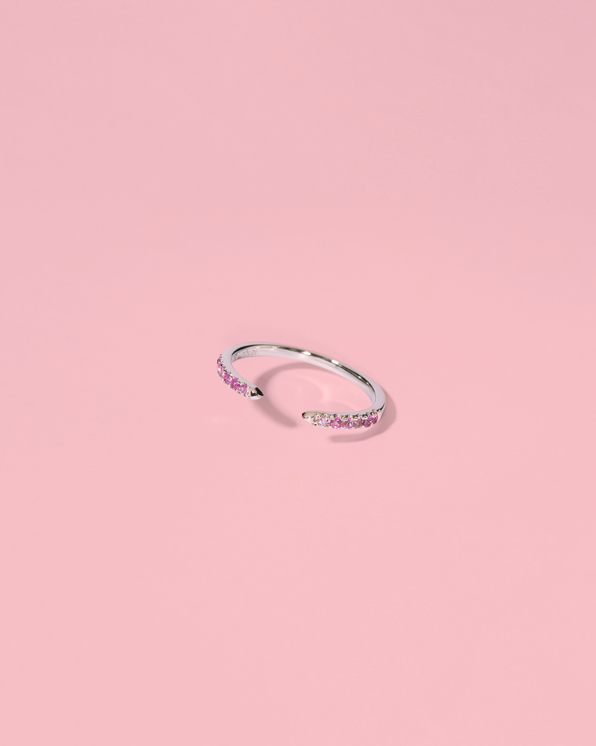 Ice-cool baby <br>silver band pink stones