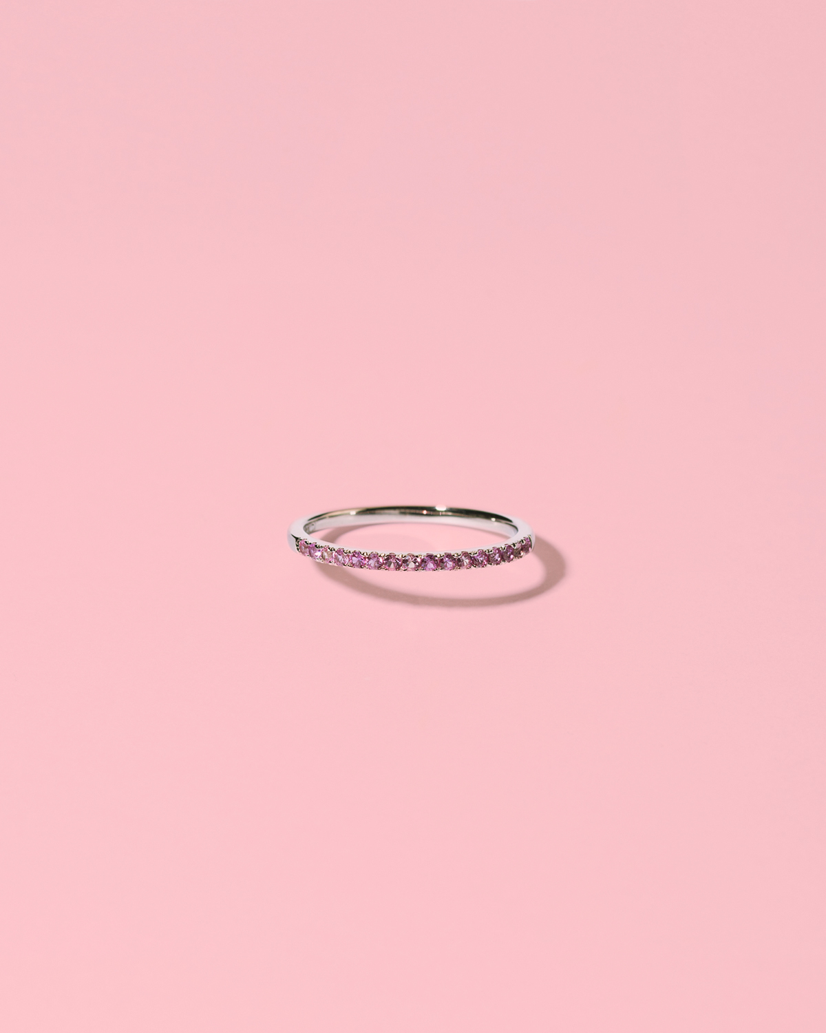 Glamglower shiny <br>silver ring pink stones